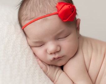 Cherry Red Headband, Baby Headbands, Newborn Headband, Red Baby Headbands, Newborn Headbands, Photography Props