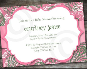 Paisley BABY SHOWER, Bridal Shower or Birthday INVITATION- Printable Invite - Customizable diy