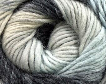 Magic Wool Deluxe Grey, Black, Cream, Palest Blue Kuka 16867 Self-Patterning 100% Wool Yarn 100 Gram 218 Yards Felt Knit Crochet Weave