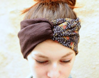 Headband, Turban, hair two-tone Retro floral satin, soft purple Viscose with Jersey Brown grey
