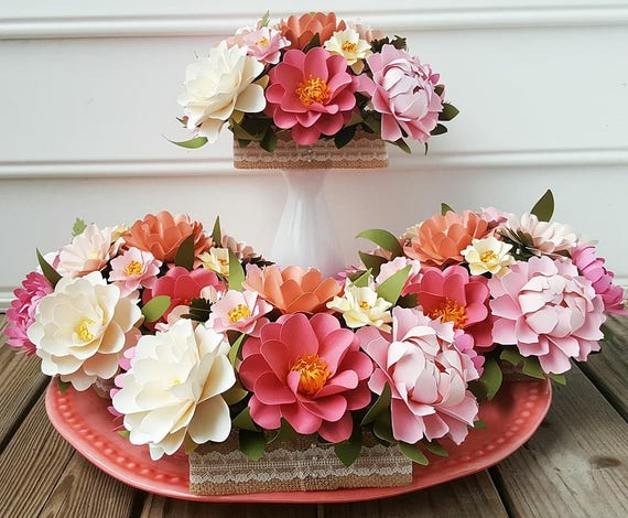 paper flower centerpiece table arrangement wedding flowers