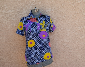 Vintage 1970's Vibrant Floral Blouse with Graphic Design
