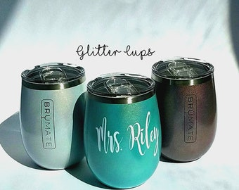 Glitter Stainless steel wine 14oz, Monogram Cup, Monogram Gift, Beach Cup, Monogram Tumbler, Wine Tumbler, Personalized Tumbler
