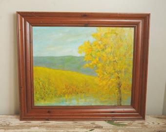 Original Painting Landscape Autumn Mountain Trees