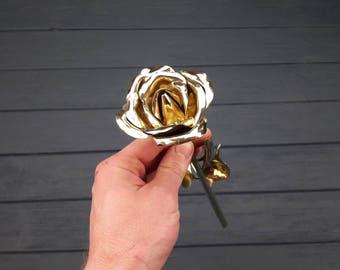Bronze gift, bronze rose, 8 years anniversary, bronze anniversary gift, 8th anniversary gifts, bronze gifts, gift for her, bronze flowers