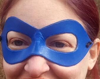 Blue Pointed Domino Mask - Pointed Edge Molded Leather Mask - Superhero Costume Mask