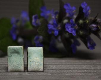 Minty Geometric earrings/ Light Matte & Effetive/ Geometric earrings/ Rectangle earrings/ Ceramic earrings/ Great mothers day gift
