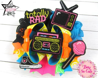 Layered Boutique Bow  - Flashback to the 80s - hair bow - neon retro