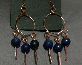 Lapis Lazuli and Copper Wire Hoop Earrings