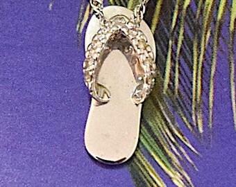 Slipper Pendant, 14KT White Gold Hawaiian Slipper W. Diamond Pendant, P5253