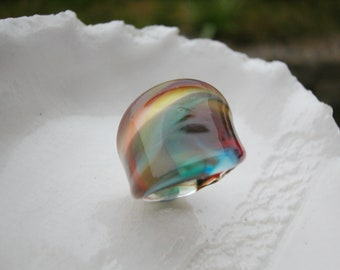 Handmade Glass Ring, US size 8 & 3/4