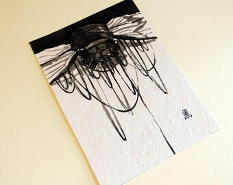 Cicada - original ink painting