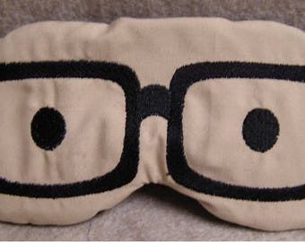Embroidered Eye Mask, Sleeping, Cute Sleep Mask for Kids or Adults, Sleep Blindfold, Slumber Mask, Eye Shade, Eye Glasses Design, Handmade