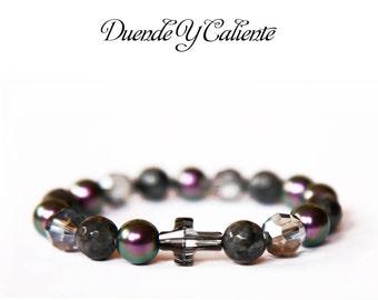 Swarovski Bracelet, Cross Bracelet, Swarovski Pearls Bracelet, Swarovski Crystal Bracelet, Labradorite Bracelet, Protection Bracelet
