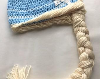Frozen Elsa Hat with Braid . Crochet Beanie . Disney Princess Wig . Frozen Gift . Frozen Costume . Baby Photo Prop