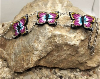 Pink, blue and Yellow Butterfly bracelet made of polymer clay