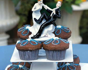 Wedding Cake Top Comical Couple, Groom Taking A Plunge, Funny Wedding Cake Topper