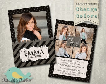 Graduation Announcement PHOTOSHOP TEMPLATE -  Senior Graduation 1
