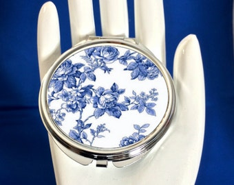Compact Mirror - Vintage  French Blue Floral Roses