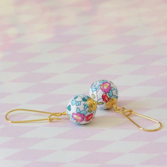 Liberty earrings,Cute earrings,Colorful earrings,Summer earrings,Flower earrings,Liberty jewelry,Summer trends,Gift under 30, Small gift