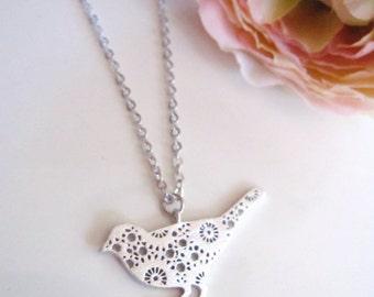 Silver Bird Necklace, Bohemian, Nature Jewelry, Silver Flower Bird, Modern Bird Pendant, Woodland, Gardendiva