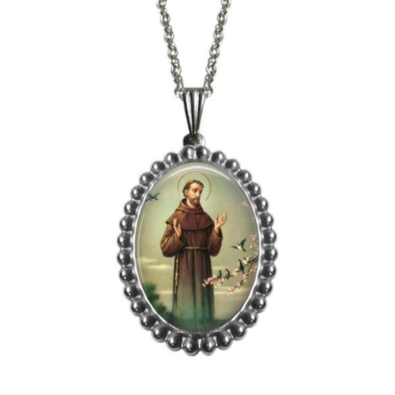 Saint Francis of Assisi stainless steel Pendant with 18 or 24 inch stainless steel necklace