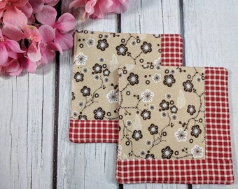 Country Flower - Handmade Quilted Coaster - Set of 2 - Mug Mats - Gift for Mom - Hostess Gift - Mother's Day - Teacher Gift