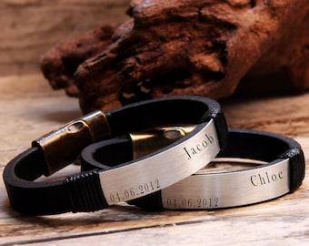 Leather Bracelet, Coubles Bracelet, Personalized Bracelet, Husband Gift, Name Bracelet, Gift Ideas, Christmas Gift, Gift for Him, Mens Gift