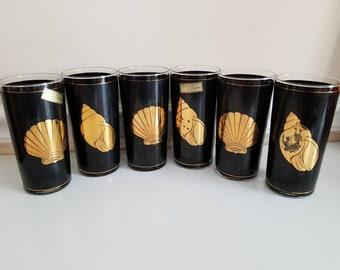 Culver Gold Shell Cocktail Glasses, 22K, Set of 6, Mid Century Modern, Mad Men, Black Highball Glasses, Black Gold Shells Collins, Barware