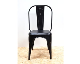 Tolix style industrial distressed black chair