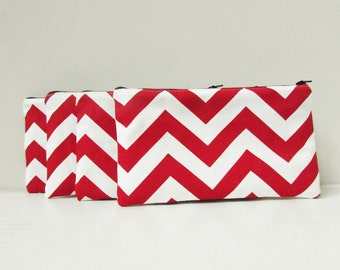 Chevron Cosmetic Bags - Set of 5 - Bridesmaid clutches - Personalized Chevron Pouch with initials - Embroidered Makeup bag - Large