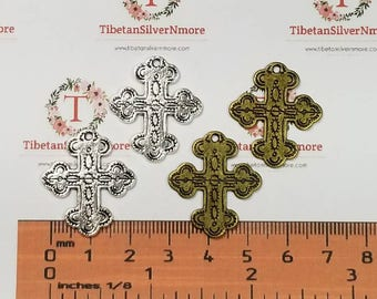 8 pcs per pack 28x24mm American Southwest Cross Charm in Antique Silver or Bronze Lead Free Pewter