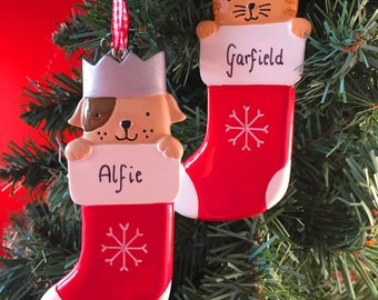 Personalised Christmas Tree Decorations - Cat or Dog in Stocking