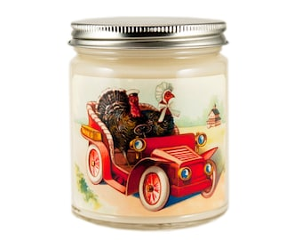 Thanksgiving Candle, Hostess Gift, Turkey Candle, Container Candle, Soy Candle, Vintage Thanksgiving Candle, Holiday Candle