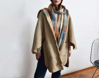 1970s Reversible Plaid Wool Cape Coat 70s Vintage Hooded Poncho Coat XS S M L