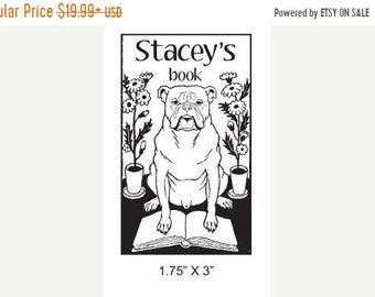 Mothers Day Sale Custom Ex Libris Bulldog Adorable Bookplate Stamp A25