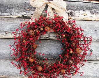 Christmas Wreath-Farmhouse Christmas-Rustic Bell Wreath-PRIMITIVE RED RUSTY Bell Wreath-Primitive Door Wreath-Door Decor-Wreaths-Gifts