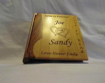 "Custom Engraved Wooden Wedding Photo Album ""Joined Hearts"" - Large"