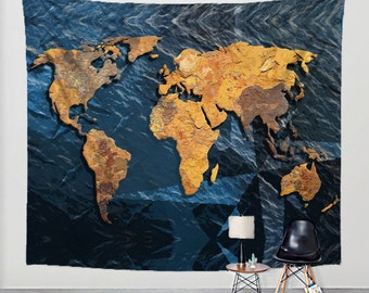 World map tapestry rustic fabric art print wall hanging world map tapestry rusted metal and blue ocean with compass stamps on fabric art print wall gumiabroncs Gallery