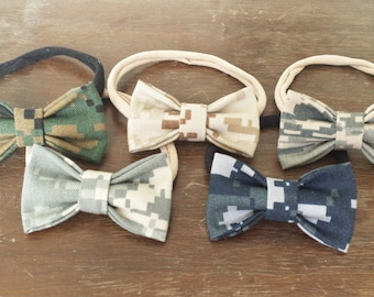 Military Cammie Bow Baby/Toddler Headband (USMC, Army, Navy, Air Force), One Size Fits Most