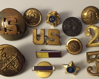 SALE Vintage USMC Brass Collar Buttons and Miscellaneous Vintage WW2 Era Insignia Pins Lapel Pins USA Patriotic Insignia