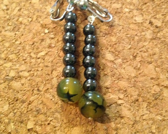 Dragon's eye and hematite clip-on