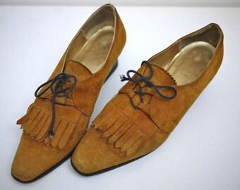 Caramel Suede Brogue Loafer Heels