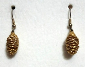 Vintage Gold Plated Pine Cone Drop Earrings