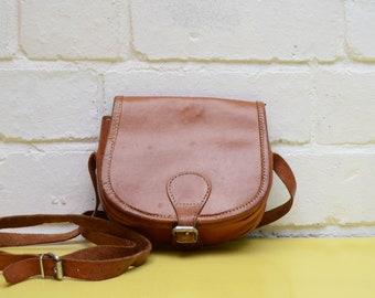 Vintage Leather Handbag, Small Brown Leather Cross Body Bag, Festival Handbag, Leather Boho Bag, Small Tan Leather Bag, Ladies Vintage Bag