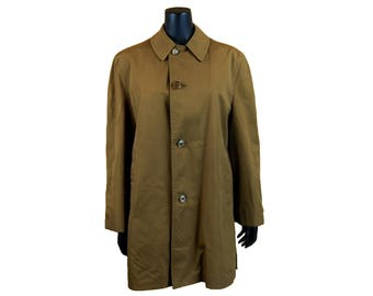Vintage 1970s Army Brown Coat / Faux Fur Lined / Size 38 Short / Harbor Master