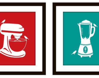 Red and Teal Retro Kitchen Appliance Print with Birds