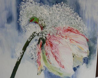 oil on canvas with a knife in my garden hellebore snow