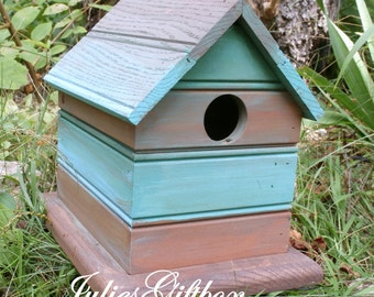 Bird House Turquoise & Brown Birdhouse Hand Crafted  - Indoor Or Outdoor - Made in the USA - Ready To Ship