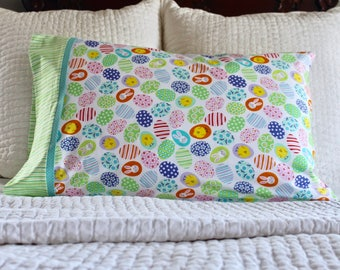 Easter egg pillowcase, Easter bunny pillowcase,  Easter gift for kids, Easter basket stuffers, pillowcase for kids, handmade pillowcase